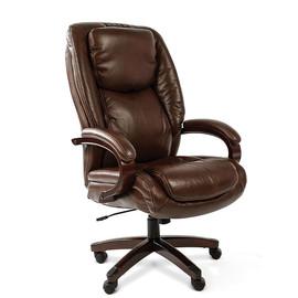 Компьютерное кресло для руководителя Chairman 408 Натуральная кожа коричневого цвета