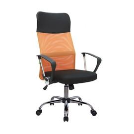 Офисное кресло Riva Chair 8074 (подголовник - экокожа) оранжевая сетка