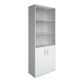 Шкаф для документов в офис высокий широкий (2 низкие двери ЛДСП, 2 средние двери стекло) RIVA А.СТ-1.2 770х365х1980