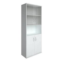 Шкаф для документов в офис высокий широкий (2 низкие двери ЛДСП, 2 низкие двери стекло) RIVA А.СТ-1.4 770х365х1980