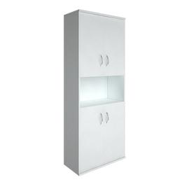 Шкаф для документов в офис высокий широкий (4 низкие двери ЛДСП) RIVA А.СТ-1.5 770х365х1980