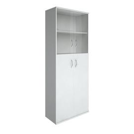 Шкаф для документов в офис высокий широкий (2 средние двери ЛДСП, 2 низкие двери стекло) RIVA А.СТ-1.7 770х365х1980
