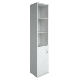 Шкаф для документов в офис высокий узкий левый/правый (1 низкая дверь ЛДСП, 1 средняя дверь стекло) RIVA А.СУ-1.2 Л/Пр 404х365х1980