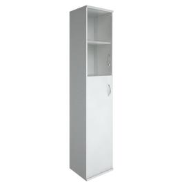 Шкаф для документов в офис высокий узкий левый/правый (1 средняя дверь ЛДСП, 1 низкая дверь стекло) RIVA А.СУ-1.7 Л/Пр 404х365х1980