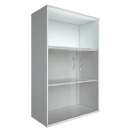 Шкаф для документов в офис средний широкий (2 низкие двери стекло) RIVA А.СТ-2.2 770х365х1215