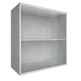 Шкаф для документов в офис низкий широкий (2 низкие двери стекло) RIVA А.СТ-3.2 770х365х828