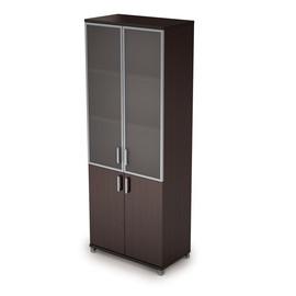 Шкаф для документов высокий с со стеклом в алюминиевой раме AVANCE 6Ш.005.4 Венге 800х450х2116