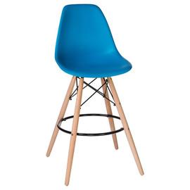 Барный стул Eames Style DSW LMZL-PP623G голубое сиденье LogoMebelБарный стул Eames Style DSW LMZL-PP623G голубое сиденье LogoMebel
