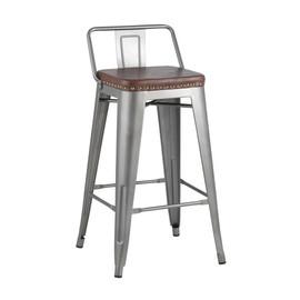 Полубарный стул Tolix Soft серебристый Stool Group