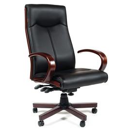 Компьютерное кресло для руководителя Chairman 411 Черная ЭКО кожа с деревянными элементами