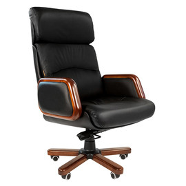Компьютерное кресло для руководителя Chairman 417 натуральная кожа и деревянные элементы