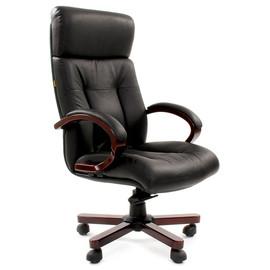 Компьютерное кресло для руководителя Chairman 421 натуральная кожа и деревянные элементы