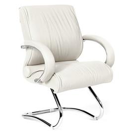 Офисное кресло для посетителей Chairman ch 445 Белая кожа
