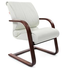 Офисное кресло для посетителей Chairman ch 445 WD кожа белая