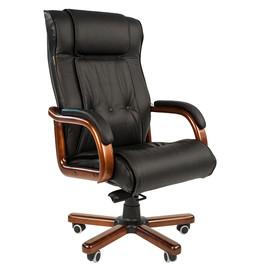 Компьютерное кресло для руководителя Chairman 653 натуральная кожа и деревянные элементы