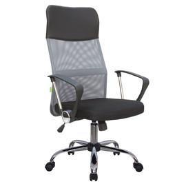 Офисное кресло Riva Chair 8074 (подголовник - экокожа) серая сетка