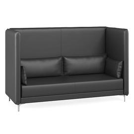 Трёхместный диван высокий Графит с  двумя подушками подлокотниками (ШхГхВ - 218x91x137 см.)