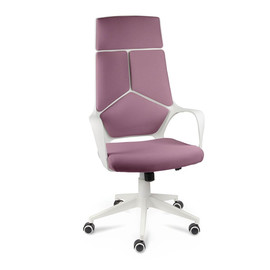 Кресло для руководителя в офис NORDEN IQ белый пластик / фиолетовая ткань