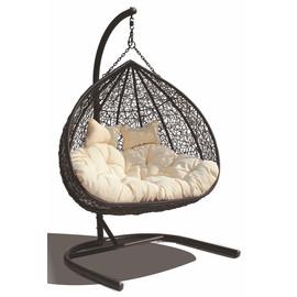 Кресло подвесное для двоих Gemini цвет коричневый, подушка – бежевый EcoDesign