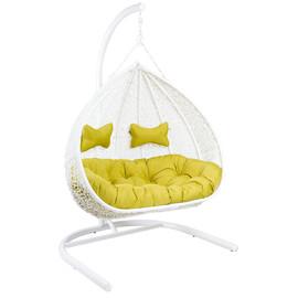 Кресло подвесное для двоих Gemini White цвет белый, подушка – Светло-зеленый EcoDesign