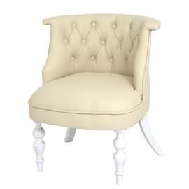 Кресло Бархат (эмаль белая / кожзам 4 кремовый) Red Black