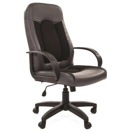 Компьютерное кресло для руководителя Chairman 429 Экопремиум, серый+ткань 10-356 черная