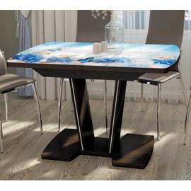 Стол обеденный Вектор со стеклом и фотопечатью