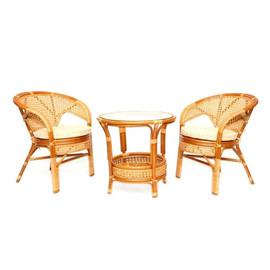 """Комплект кофейный """"ПЕЛАНГИ""""  (Стол + 2 кресла) Коньячный Ecodesign"""