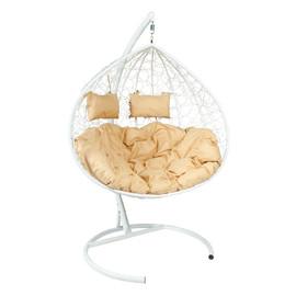 Кресло-качели подвесное Z-06 (4), цвет белый, подушка – бежевый, EcoDesign