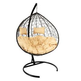 Кресло-качели подвесное Z-06 (7), цвет черный, подушка – бежевый, EcoDesign
