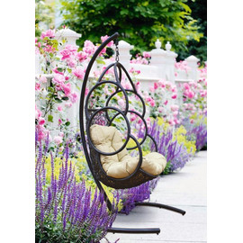 Кресло-качели подвесное GALAXY, цвет черный, подушка – бежевый, EcoDesign