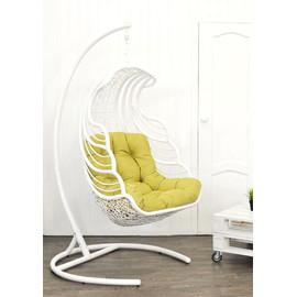 Кресло подвесное SHELL, цвет белый, подушка – Светло-зеленый, EcoDesign