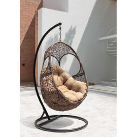 Кресло-качели подвесное SOLAR, цвет черный, подушка – бежевый, EcoDesign