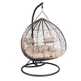 Кресло-качели подвесное Z-06, цвет Светло-коричневый, подушка – бежевый EcoDesign