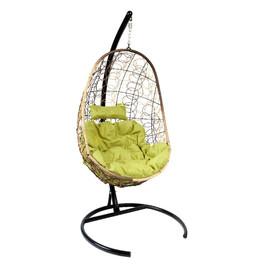 Подвесное кресло Z-02 (2), цвет светло-коричневый, подушка – зеленый