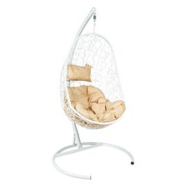 Подвесное кресло Z-02 (4), цвет белый, подушка – бежевый, EcoDesign