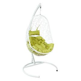 Подвесное кресло Z-02 (5), цвет белый, подушка – зеленый, EcoDesign