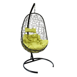 Подвесное кресло Z-02 (8), цвет черный, подушка – зеленый EcoDesign