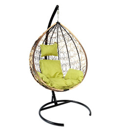 Подвесное кресло Z-03 (A2) цвет светло-коричневый, подушка – зеленый EcoDesign