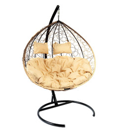 Кресло-качели подвесное Z-06 (1), цвет светло-коричневый, подушка – бежевый EcoDesign