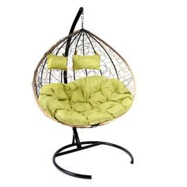 Кресло-качели подвесное Z-06 (2), цвет светло-коричневый, подушка – зеленый EcoDesign