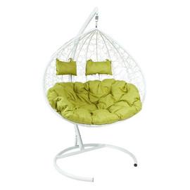 Кресло-качели подвесное Z-06 (5), цвет белый, подушка – зеленый EcoDesign