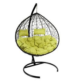 Кресло-качели подвесное Z-06(8), цвет черный, подушка – зеленый EcoDesign