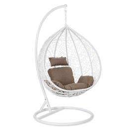 Кресло-качели подвесное Z-10, цвет белый, подушка – бежево-коричневый, EcoDesign