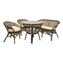 Комплект обеденный из ротанга (стол + 2 кресла + диван) JAVA, 3 Б темно-коричневый Ecodesign