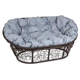 Кресло Mamasan, (Patio-23-02 met 3) цвет плетения коричневый, цвет подушки серый EcoDesign