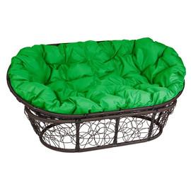 Кресло Mamasan, (Patio-23-02 met 2) цвет плетения коричневый, цвет подушки зеленый EcoDesign
