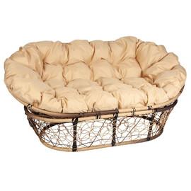 Кресло Mamasan, (Patio-23-02 met 10) цвет плетения светло-коричневый, цвет подушки бежевый EcoDesign