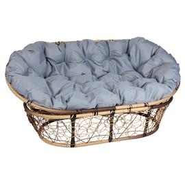 Кресло Mamasan, (Patio-23-02 met 12) цвет плетения светло-коричневый, цвет подушки серый EcoDesign