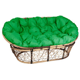 Кресло Mamasan, (Patio-23-02 met 11) цвет плетения светло-коричневый, цвет подушки зеленый EcoDesign